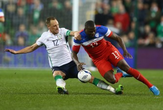 DUBLIN, IRELAND - NOVEMBER 18:  David Meyler (L) of Ireland tackles Jozy Altidore (R) of USA during the International Friendly match between the Republic of Ireland and USA at the Aviva Stadium on November 18, 2014 in Dublin, Ireland.  (Photo by Michael Steele/Getty Images)