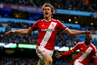 MANCHESTER, ENGLAND - JANUARY 24:  Patrick Bamford of Middlesbrough celebrates after scoring the opening goal during the FA Cup Fourth Round match between Manchester City and Middlesbrough at Etihad Stadium on January 24, 2015 in Manchester, England.  (Photo by Alex Livesey/Getty Images)
