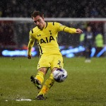SHEFFIELD, ENGLAND - JANUARY 28: Christian Eriksen of Tottenham Hotspur scores from a free kick during the Capital One Cup Semi-Final Second Leg match between Sheffield United and Tottenham Hotspur at Bramall Lane on January 28, 2015 in Sheffield, England.  (Photo by Laurence Griffiths/Getty Images)