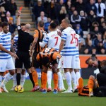 during the Barclays Premier League match between Hull City and Queens Park Rangers at KC Stadium on February 21, 2015 in Hull, England.