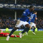 LIVERPOOL, ENGLAND - FEBRUARY 22:  Romelu Lukaku of Everton celebrates as Matthew Upson of Leicester City scores an own goal for their second goal during the Barclays Premier League match between Everton and Leicester City at Goodison Park on February 22, 2015 in Liverpool, England.  (Photo by Clive Brunskill/Getty Images)