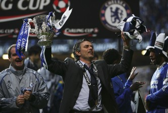 CARDIFF, UNITED KINGDOM - FEBRUARY 25: Chelsea Manager Jose Mourinho celebrates with the trophy following his team's victory at the end of the Carling Cup Final match between Chelsea and Arsenal at the Millennium Stadium on February 25, 2007 in Cardiff, Wales. (Photo by Alex Livesey/Getty Images)