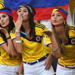 CUIABA, BRAZIL - JUNE 24:  Colombia fans blow kisses during the 2014 FIFA World Cup Brazil Group C match between Japan and Colombia at Arena Pantanal on June 24, 2014 in Cuiaba, Brazil.  (Photo by Christopher Lee/Getty Images)