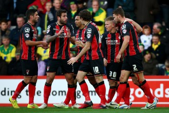 during the Sky Bet Championship match between AFC Bournemouth and Norwich City at Goldsands Stadium on January 10, 2015 in Bournemouth, England.