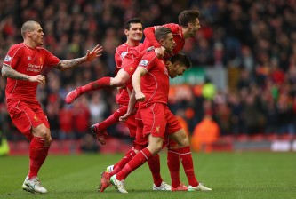 of Liverpool in action with of Manchester City during the Barclays Premier League match between Liverpool and Manchester City at Anfield on March 1, 2015 in Liverpool, England.