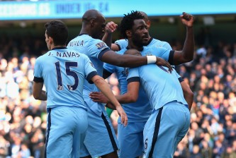 MANCHESTER, ENGLAND - MARCH 21:  Wilfried Bony of Manchester City celebrates with goalscorer Fernando Reges after the second goal during the Barclays Premier League match between Manchester City and West Bromwich Albion at Etihad Stadium on March 21, 2015 in Manchester, England.  (Photo by Alex Livesey/Getty Images)
