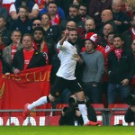 LIVERPOOL, ENGLAND - MARCH 22: Juan Mata of Manchester United celebrates scoring the opening goal during the Barclays Premier League match between Liverpool and Manchester United at Anfield on March 22, 2015 in Liverpool, England.  (Photo by Alex Livesey/Getty Images)