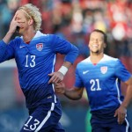 ZURICH, SWITZERLAND - MARCH 31: Brek Shea of the USA celebrates his scored goal with teammate Timmy Chandler during the international friendly match between Switzerland and the United States at Stadium Letzigrund on March 31, 2015 in Zurich, Switzerland. (Photo by Philipp Schmidli/Getty Images)