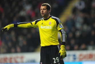 NEWCASTLE UPON TYNE, ENGLAND - DECEMBER 26:  Stoke goalkeeper Thomas Sorensen in action during the Barclays Premier League match between Newcastle United and Stoke City at St James' Park on December 26, 2013 in Newcastle upon Tyne, England.  (Photo by Stu Forster/Getty Images)