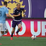 ORLANDO, FL - MARCH 08:  Brek Shea #20 of Orlando City SC chases the ball on the sidelines during an MLS soccer match between the New York City FC and the Orlando City SC at the Orlando Citrus Bowl on March 8, 2015 in Orlando, Florida. This was the first game for both teams and the final score was 1-1. (Photo by Alex Menendez/Getty Images)