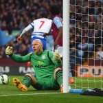 BIRMINGHAM, ENGLAND - APRIL 07:  Goalkeeper Brad Guzan of Aston Villa reacts as Matt Phillips of QPR (7) scores their first goal during the Barclays Premier League match between Aston Villa and Queens Park Rangers at Villa Park on April 7, 2015 in Birmingham, England.  (Photo by Michael Regan/Getty Images,)