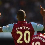 LONDON, ENGLAND - APRIL 11:  Christian Benteke of Aston Villa celebrates scoring their first goal during the Barclays Premier League match between Tottenham Hotspur and Aston Villa at White Hart Lane on April 11, 2015 in London, England.  (Photo by Shaun Botterill/Getty Images)