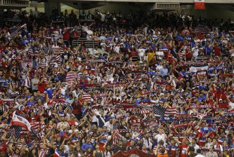 SAN ANTONIO, TX - APRIL 15:  United States and Mexico fans cheer for their teamduring an international friendly match at the Alamodome on April 15, 2015 in San Antonio, Texas.  (Photo by Chris Covatta/Getty Images)