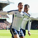 LONDON, ENGLAND - APRIL 18:  Craig Gardner of West Brom (L) celebrates scoring their second goal with Joleon Lescott of West Brom during the Barclays Premier League match between Crystal Palace and West Bromwich Albion at Selhurst Park on April 18, 2015 in London, England.  (Photo by Tom Dulat/Getty Images)