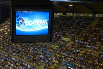 VILLARREAL, SPAIN - AUGUST 24:  Logo of the Liga BBVA is pictured on the monitors in the press room during the La Liga match between Villarreal CF and Real Valladolid CF at El Madrigal Stadium on August 24, 2013 in Villarreal, Spain.  (Photo by Manuel Queimadelos Alonso/Getty Images)