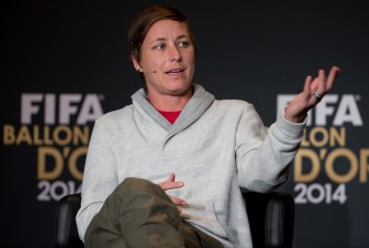 ZURICH, SWITZERLAND - JANUARY 12: FIFA Women's World Player of the Year nominee Abby Wambach of USA and Western New York Flash attends a press conference prior to the FIFA Ballon d'Or Gala 2014 at the Kongresshaus on January 12, 2015 in Zurich, Switzerland. (Photo by Philipp Schmidli/Getty Images)