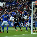 during the Barclays Premier League match between Leicester City and Newcastle United at The King Power Stadium on May 2, 2015 in Leicester, England.