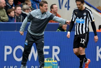 LEICESTER, ENGLAND - MAY 02:  John Carver the Newcastle manager during the Barclays Premier League match between Leicester City and Newcastle United at The King Power Stadium on May 2, 2015 in Leicester, England.  (Photo by Ross Kinnaird/Getty Images)