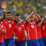 BELO HORIZONTE, BRAZIL - JUNE 28: (L-R) Gonzalo Jara, Gary Medell, Fabian Orellana, Eduardo Vargas and Eugenio Mena of Chile react after being defeated by Brazil in a penalty shootout during the 2014 FIFA World Cup Brazil round of 16 match between Brazil and Chile at Estadio Mineirao on June 28, 2014 in Belo Horizonte, Brazil.  (Photo by Quinn Rooney/Getty Images)