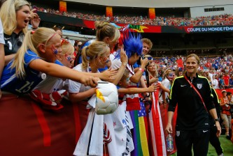 VANCOUVER, BC - JULY 05:  Head coach Jill Ellis of the United States greets fans before the USA takes on Japan in the FIFA Women's World Cup Canada 2015 Final at BC Place Stadium on July 5, 2015 in Vancouver, Canada.  (Photo by Kevin C. Cox/Getty Images)