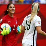 VANCOUVER, BC - JULY 05:  Goalkeeper Hope Solo #1 of the United States talks with Julie Johnston #19 in the first half against Japan in the FIFA Women's World Cup Canada 2015 Final at BC Place Stadium on July 5, 2015 in Vancouver, Canada.  (Photo by Ronald Martinez/Getty Images)
