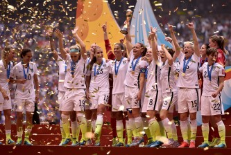 VANCOUVER, BC - JULY 05:  Christie Rampone #3 of the United States celebrates with teammates after winning the FIFA Women's World Cup Canada 2015 5-2 against Japan at BC Place Stadium on July 5, 2015 in Vancouver, Canada.  (Photo by Dennis Grombkowski/Getty Images)