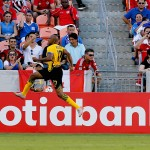 HOUSTON, TX - JULY 11:  Rudolph Austin #17 of Jamaica celebrates his goal in stoppage time against the Canada at BBVA Compass Stadium on July 11, 2015 in Houston, Texas. Jamaica won 1-0.  (Photo by Bob Levey/Getty Images)