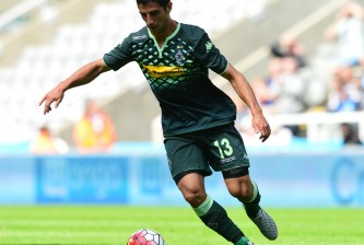 NEWCASTLE UPON TYNE, ENGLAND - AUGUST 1 : Lars Stindl of  Borussia Moenchengladbach in action during the Pre Season Friendly between Newcastle United and Borussia Moenchengladbach at St James' Park on August 1, 2015 in Newcastle Upon Tyne, England. (Photo by Mark Runnacles/Getty Images)
