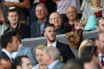 MANCHESTER, ENGLAND - AUGUST 08: David De Gea of Manchester United is seen on the stand during the Barclays Premier League match between Manchester United and Tottenham Hotspur at Old Trafford on August 8, 2015 in Manchester, England.  (Photo by Michael Regan/Getty Images)