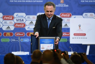 SAINT PETERSBURG, RUSSIA - JULY 24:  Vitaly Mutko Chairman of the Local Organising Committee poses during a philatelic programme launch press conference ahead of the preliminary draw of the 2018 FIFA World Cup in Russia at Konstantin Palace on July 24, 2015 in Saint Petersburg, Russia.  (Photo by Dennis Grombkowski/Getty Images)