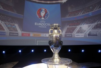 PARIS, FRANCE - JUNE 26:  The European Trophy is displayed during EURO 2016 Logo & Slogan Launch on June 26, 2013 in Paris, France.  (Photo by Xavier Laine/Getty Images)