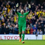 WATFORD, ENGLAND - APRIL 06:  Heurelho Gomes of Watford FC celebrates Watford's 2nd goal during the Sky Bet Championship match between Watford and Middlesbrough at Vicarage Road on April 6, 2015 in Watford, England.  (Photo by Justin Setterfield/Getty Images)