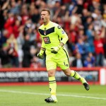 BOURNEMOUTH, ENGLAND - AUGUST 29:  Artur Boruc of Bournemouth celebrates his team's first goal during the Barclays Premier League match between A.F.C. Bournemouth and Leicester City at Vitality Stadium on August 29, 2015 in Bournemouth, England.  (Photo by Ben Hoskins/Getty Images)