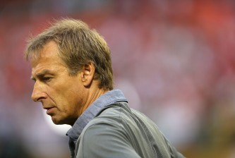 WASHINGTON, DC - SEPTEMBER 04: Head coach Jurgen Klinsmann of the United States looks on before playing Peru during an international friendly at RFK Stadium on September 4, 2015 in Washington, DC. (Photo by Patrick Smith/Getty Images)