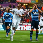 SWANSEA, WALES - OCTOBER 04:  Ashley Williams of Swansea City celebrates after Harry Kane of Tottenham Hotspur scores an own goal during the Barclays Premier League match between Swansea City and Tottenham Hotspur at Emirates Stadium on October 4, 2015 in Swansea, Wales.  (Photo by Jordan Mansfield/Getty Images)