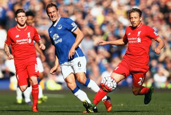during the Barclays Premier League match between Everton and Liverpool at Goodison Park on October 4, 2015 in Liverpool, England.