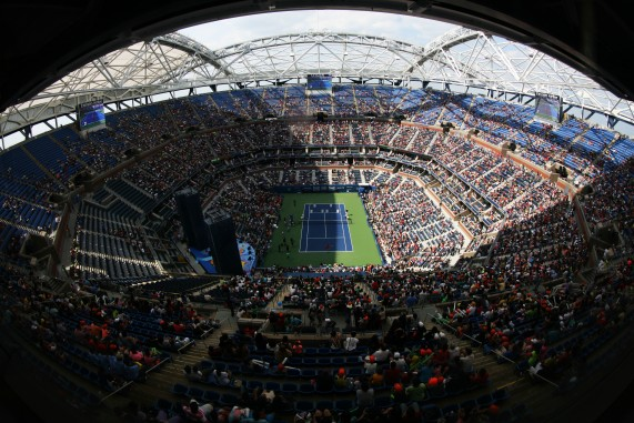 NY 29Aug2015 Roof scaffolding Ashe Stadium wide angle view from top on Art Ashe Day with shadows.