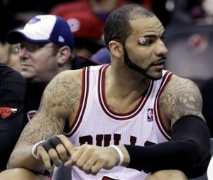 Carlos Boozer spent a chunk of fourth quarters on the bench last year for the Bulls. Kobe will not like that. Photo by AP Photo/Julio Cortez