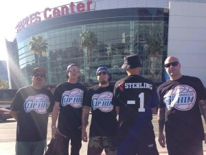 A group of Clippers fans protest Donald Sterling and support their team before Game Five. Photo by Adam Hawk on April 29, 2014.