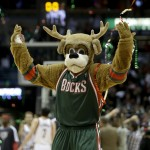 MILWAUKEE, WI - NOVEMBER 3: Milwaukee Bucks Mascot Bango celebrates after the win over the Cleveland Cavaliers at Bradley Center on November 3, 2012 in Milwaukee, Wisconsin. NOTE TO USER: User expressly acknowledges and agrees that, by downloading and or using this photograph, User is consenting to the terms and conditions of the Getty Images License Agreement. (Photo by Mike McGinnis/Getty Images)