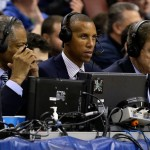 PHILADELPHIA, PA - MARCH 24:  Broadcasters Len Elmore, Reggie Miller and Kevin Harlan announce the third round of the 2013 NCAA Men's Basketball Tournament between the Duke Blue Devils and the Creighton Bluejays at Wells Fargo Center on March 24, 2013 in Philadelphia, Pennsylvania.  (Photo by Rob Carr/Getty Images)