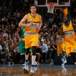 DENVER, CO - JANUARY 23:  Danilo Gallinari #8 of the Denver Nuggets takes the court against the Boston Celtics at Pepsi Center on January 23, 2015 in Denver, Colorado. The Celtics defeated the Nuggets 100-99. NOTE TO USER: User expressly acknowledges and agrees that, by downloading and or using this photograph, User is consenting to the terms and conditions of the Getty Images License Agreement.  (Photo by Doug Pensinger/Getty Images)