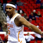 RALEIGH, NC - MARCH 23: Jarnell Stokes #5 of the Tennessee Volunteers reacts after a basket in the first half against the Mercer Bears during the third round of the 2014 NCAA Men's Basketball Tournament at PNC Arena on March 23, 2014 in Raleigh, North Carolina.  (Photo by Streeter Lecka/Getty Images)