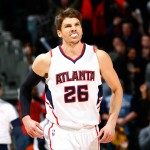 ATLANTA, GA - JANUARY 07:  Kyle Korver #26 of the Atlanta Hawks reacts after a three-point basket in the final minutes against the Memphis Grizzlies at Philips Arena on January 7, 2015 in Atlanta, Georgia.  NOTE TO USER: User expressly acknowledges and agrees that, by downloading and or using this photograph, User is consenting to the terms and conditions of the Getty Images License Agreement.  (Photo by Kevin C. Cox/Getty Images)