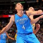DENVER, CO - JANUARY 20:  Nick Collison #4 of the Oklahoma City Thunder battles for position with Kosta Koufos #41 of the Denver Nuggets at the Pepsi Center on January 20, 2013 in Denver, Colorado. The Nuggets defeated the Thunder 121-118 in overtime. NOTE TO USER: User expressly acknowledges and agrees that, by downloading and or using this photograph, User is consenting to the terms and conditions of the Getty Images License Agreement.  (Photo by Doug Pensinger/Getty Images)