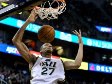 SALT LAKE CITY, UT - NOVEMBER 5: Rudy Gobert #27 of the Utah Jazz dunks during their game against the Cleveland Cavaliers at EnergySolutions Arena on November 5, 2014 in Salt Lake City, Utah. NOTE TO USER: User expressly acknowledges and agrees that, by downloading and using this photograph, User is consenting to the terms and conditions of the Getty Images License Agreement. (Photo by Gene Sweeney Jr/Getty Images)