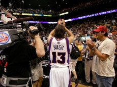 PHOENIX - JUNE 1:  Steve Nash #13 of the Phoenix Suns applaudes the fans after losing to the San Antonio Spurs in Game five of the Western Conference Finals during the 2005 NBA Playoffs at America West Arena on June 1, 2005 in Phoenix, Arizona. The Spurs defeated the Suns 101-95, winning the series 4-1 and will advance to the NBA Finals.  NOTE TO USER: User expressly acknowledges and agrees that, by downloading and/or using this Photograph, user is consenting to the terms and conditions of the Getty Images License Agreement.  (Photo by Elsa/Getty Images)