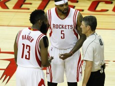 HOUSTON, TX - MAY 23:  James Harden #13 of the Houston Rockets and Josh Smith #5 have words with referee Scott Foster  during Game Three of the Western Conference Finals at Toyota Center on May 23, 2015 in Houston, Texas.  NOTE TO USER: User expressly acknowledges and agrees that, by downloading and/or using this photograph, user is consenting to the terms and conditions of the Getty Images License Agreement.  (Photo by Bob Levey/Getty Images)