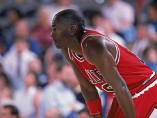 1988: Michael Jordan #23 of the Chicago Bulls rests on the court during a game. NOTE TO USER: User expressly acknowledges and agrees that, by downloading and/or using this Photograph, User is consenting to the terms and conditions of the Getty Images License Agreement. Mandatory copyright notice: Copyright 2001 NBAE Mandatory Credit:  Mike Powelll/Allsport