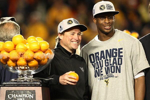 Dana Holgorsen and Geno Smith